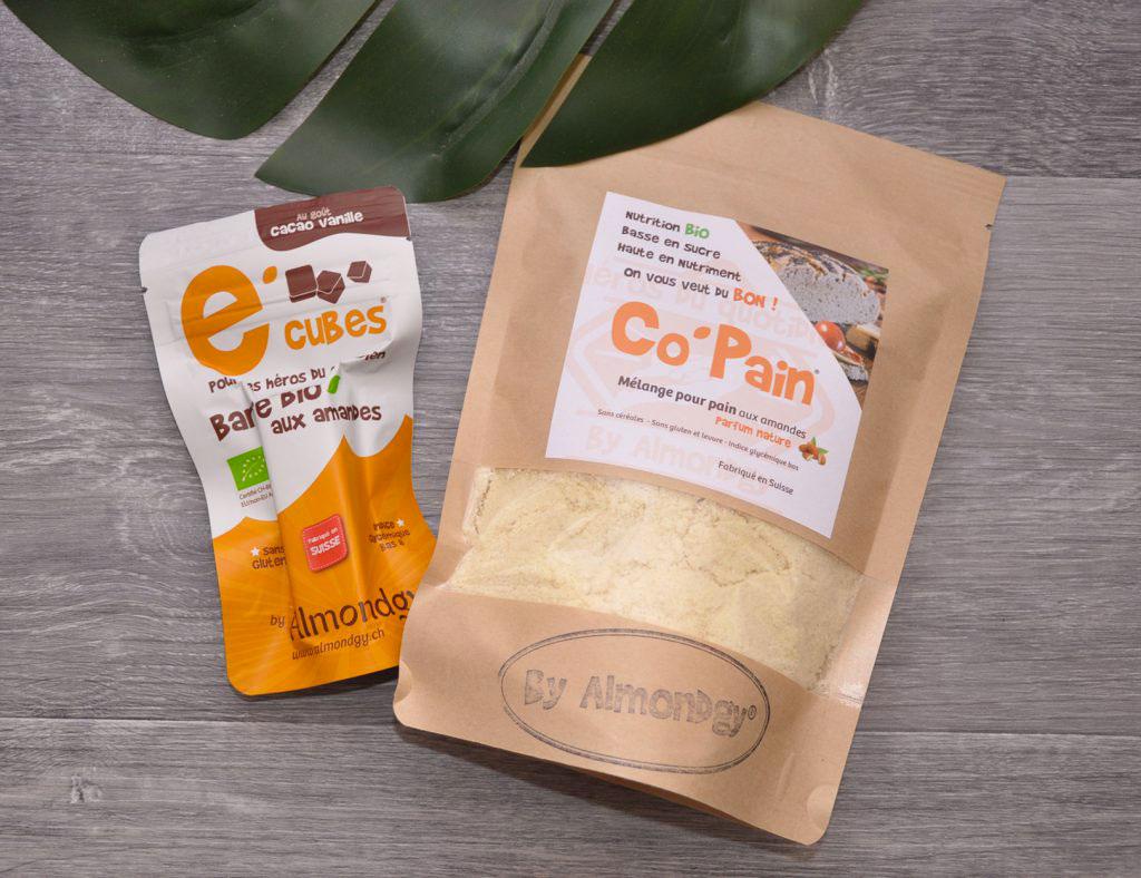 Co'Pain c'est une nouvelle gamme de pain à base de poudre d'amandes proposé par almondgy. C'est un pain sans céréales, sans gluten, sans levure et surtout avec un taux glycémique très bas.