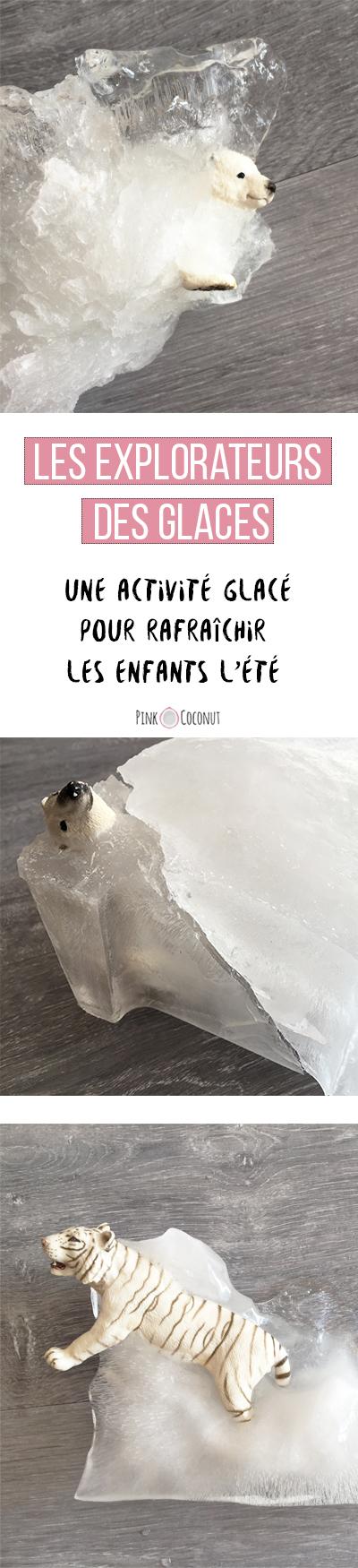 Collage de photo allongé à destination de Pinterest, Les explorateurs de glace ! Une activité pour se rafraîchir avec les enfants pendant la canicule