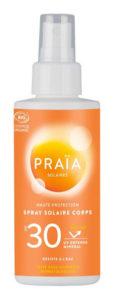 Tube de la crème solaire bio de la marque Praïa.